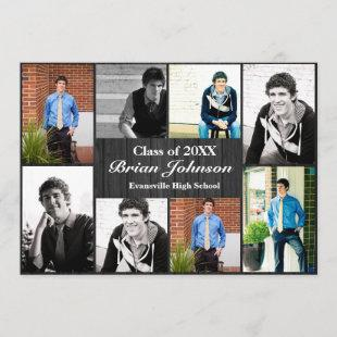 8/9 Photos Gray Wood  - Graduation Announcement