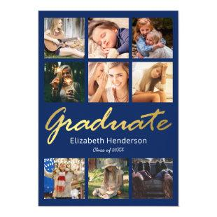 9 Photo Collage Blue Gold Graduation Party Invitation