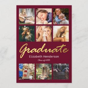 9 Photo Collage Burgundy Gold Graduation Party Invitation