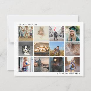 A Year To Remember White Twelve Photo Collage Holiday Card
