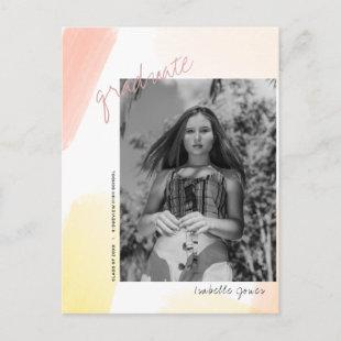 Abstract Pink & Yellow Photo Graduate Announcement Postcard