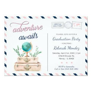 Adventure Awaits Travel Graduation Party Navy Pink Invitation