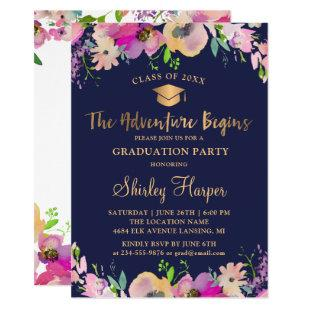 Adventure Begins Gold Script Floral Graduation Invitation