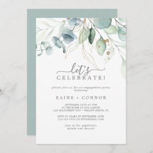 Airy Greenery and Gold Leaf Let's Celebrate