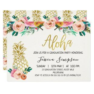 Aloha Floral Pineapple Graduation Invitation