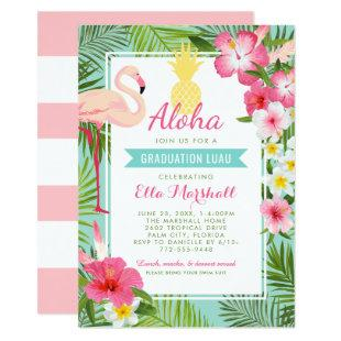 Aloha Graduation Luau | Pink Flamingo Tropical Invitation