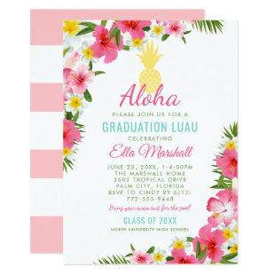 Aloha Graduation Luau | Pink Tropical Party Invitation