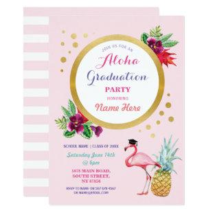 Aloha Graduation Party Flamingo Invite Tropical
