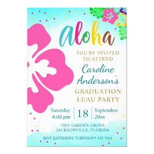 Aloha Luau Party Tropical Hibiscus Graduation Invitation