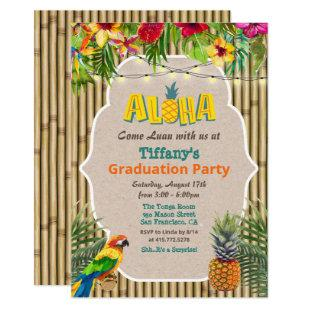 Aloha Luau Tropical Graduation Party Invitation
