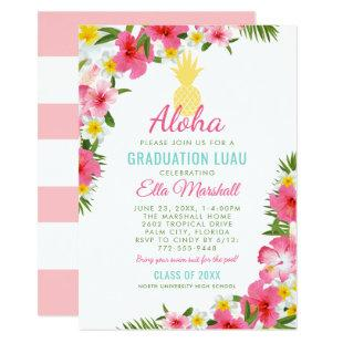 Aloha Pink Yellow Pineapple Graduation Luau Party Invitation