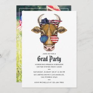 American Cow Graduation Photo Invitation