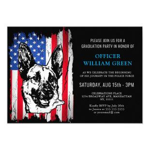 American Flag Police Dog Graduation Party Event Invitation