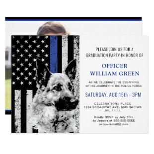 American Flag Police Dog PHOTO Graduation Party Invitation