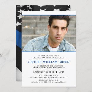 American Flag Police PHOTO Graduation Party Event Invitation