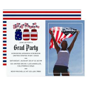 American Mason Jars Graduation Photo Invitation