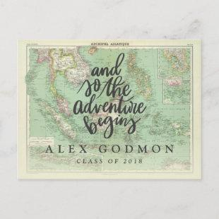 And so the adventure begins invitation postcard