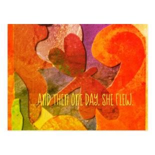 """""""...and then one day, she flew."""" postcard"""