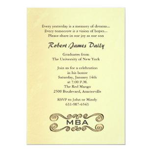 Antique Gold Scroll Graduation Invitation
