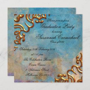 Antique Teal Paper and Gold Jewel Graduation Invitation