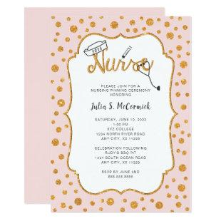 ANY COLOR Nurse graduation pinning + faux gold Invitation