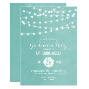 Aqua String Lights Graduation Party Invitation