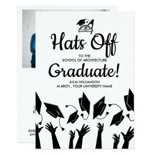 Architect Graduation Hats Off Grad Photo Party Invitation