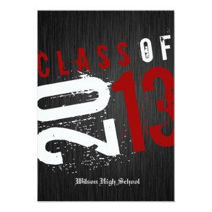 Artistic Black, White and Red Class of 2013 Invitation