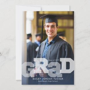 Athlete GRAD Overlay Navy Blue Any Year Graduation Announcement