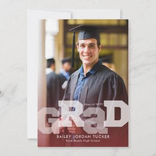 Athlete GRAD Overlay Red Any Year Graduation Announcement