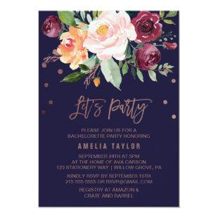 Autumn Floral Rose Gold Wreath Backing Let's Party Invitation