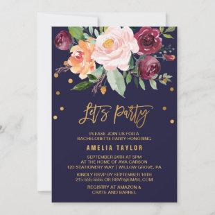 Autumn Floral with Wreath Backing Let's Party Invitation
