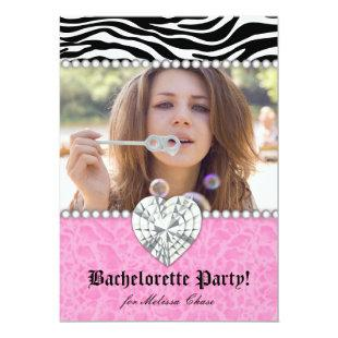 Bachelorette Party leopard Pearls Lace Heart Pink Invitation