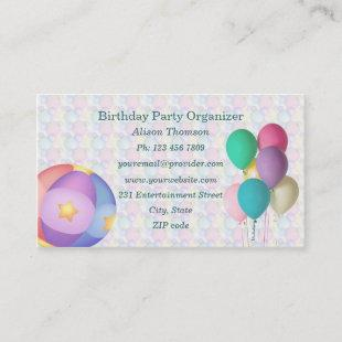 Balloons Birthday Party Organizer Business Card