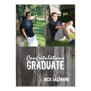 Barn Wood Country Grad Twin Photo Invitation