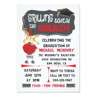 BBQ Grilling with Grad Graduation Invitation