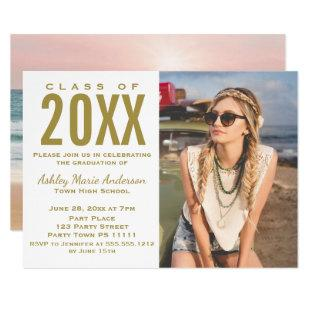 Beach Sunset Pink Gold Graduation Party with Photo Invitation