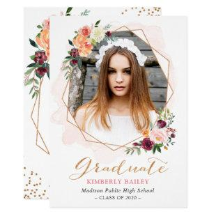 Beautiful Floral Gold Frame Photo Graduation Party Invitation
