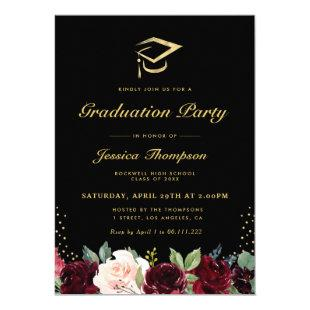 Black and gold burgundy floral graduation party invitation