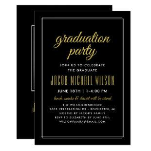 Black and Gold Elegant Graduation Party Invitation