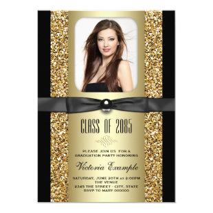 Black and Gold Glitter Graduation Announcements