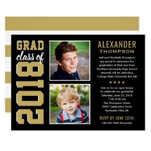 Black and Gold Grad Class of 2018 Graduation Party Invitation