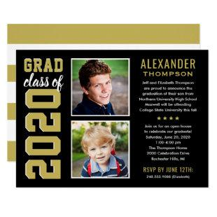 Black and Gold Grad Class of 2020 Graduation Party Invitation