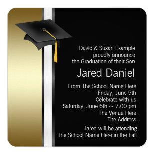Black and Gold Photo Graduation Announcements