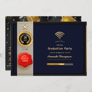 Black and Gold Virtual Graduation Party Invitation