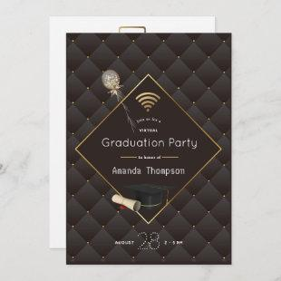 Black and Gold Virtual Graduation Party Photo Invitation
