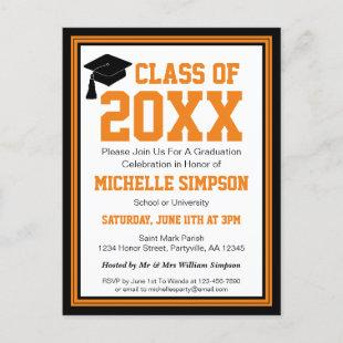 Black and Orange Graduation Party Invitation Postcard