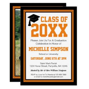 Black and Orange Photo Graduation Party Invitation