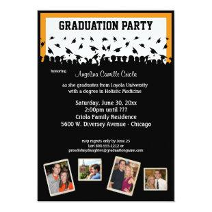 Black And Orange Silhouette Graduation Party Invitation
