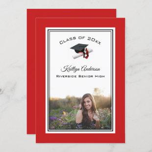 Black and Red Cap & Tassel | Photo Graduation Invitation